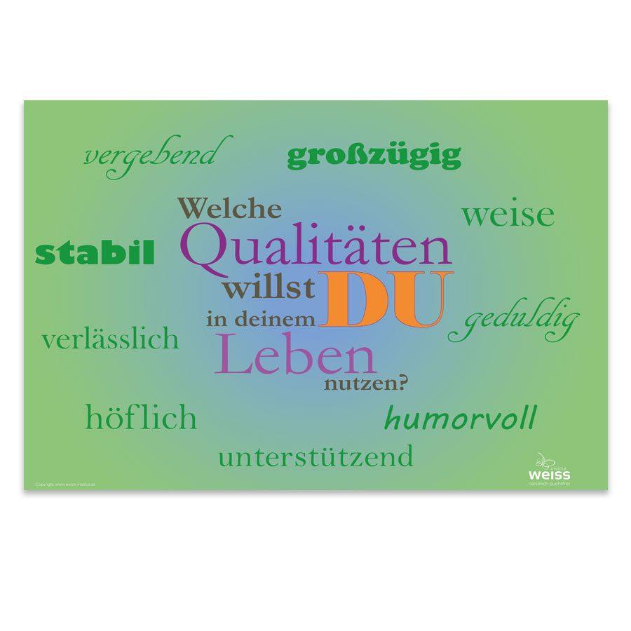 Plakat Qualitäten. Welche Qualitäten willst du in deinem Leben haben?